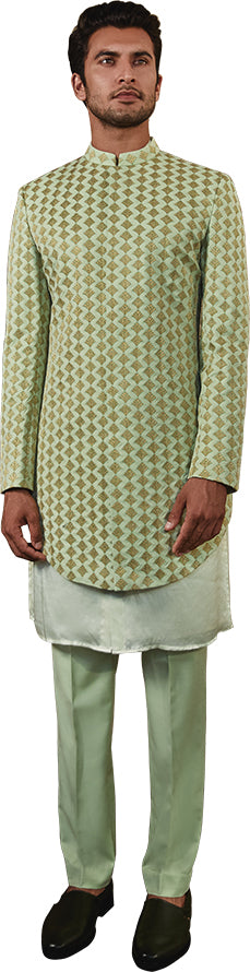 Mint Green Sherwani Ensemble