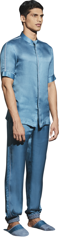 BlueGrey Satin PJ Set- Men