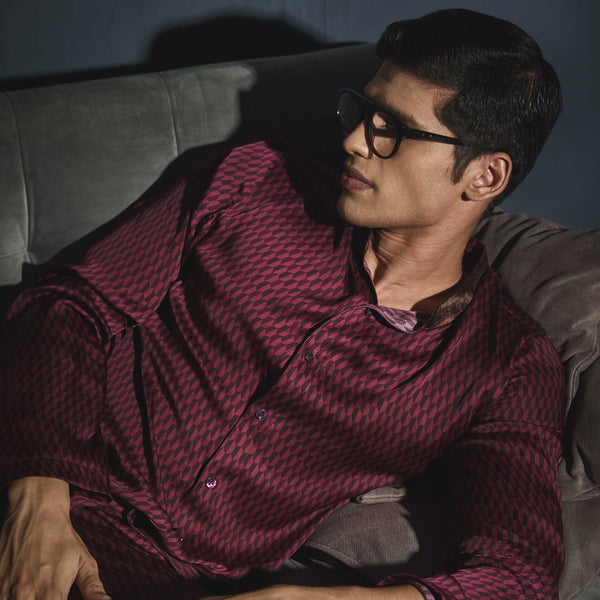 Maroon Printed PJ Set - Men
