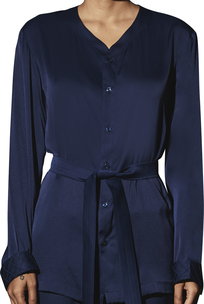 Navy Satin PJ Set - Women
