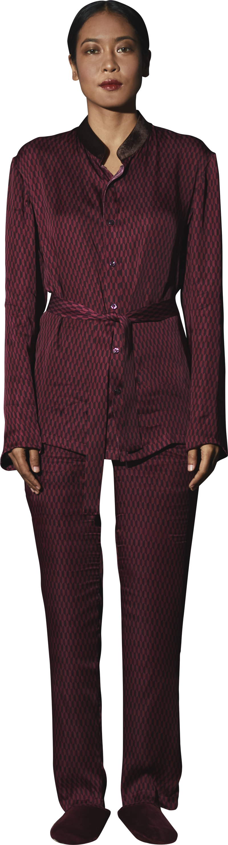 Maroon Printed PJ Set - Women