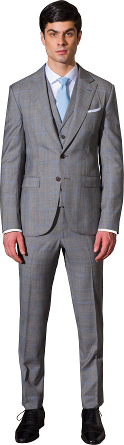 Charcoal and white three piece suit