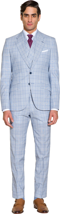 Sky blue three piece suit