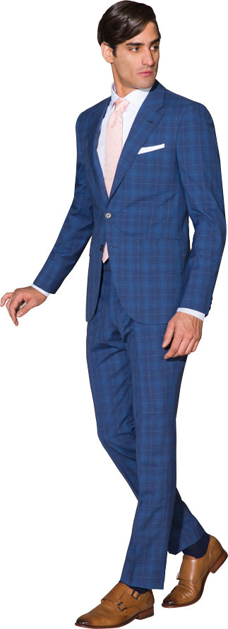 Denim blue two piece suit