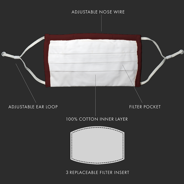 Wine Pleated Antimicrobial Mask