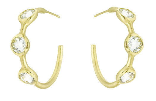 Three Stone Hoop Earrings