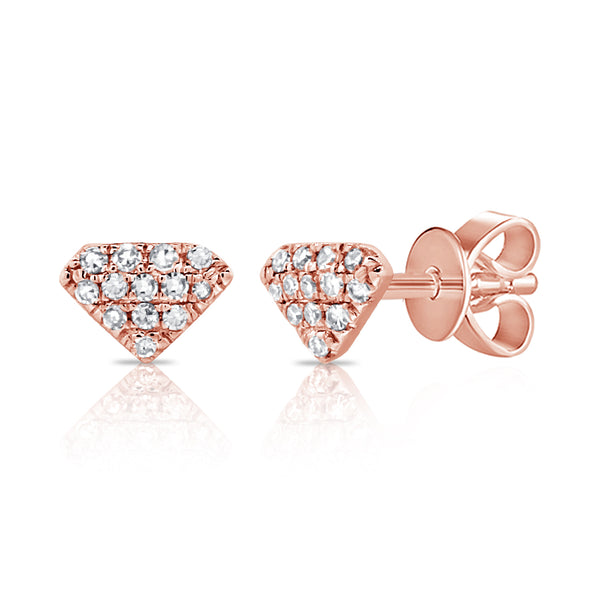Pave Diamond Shape Studs