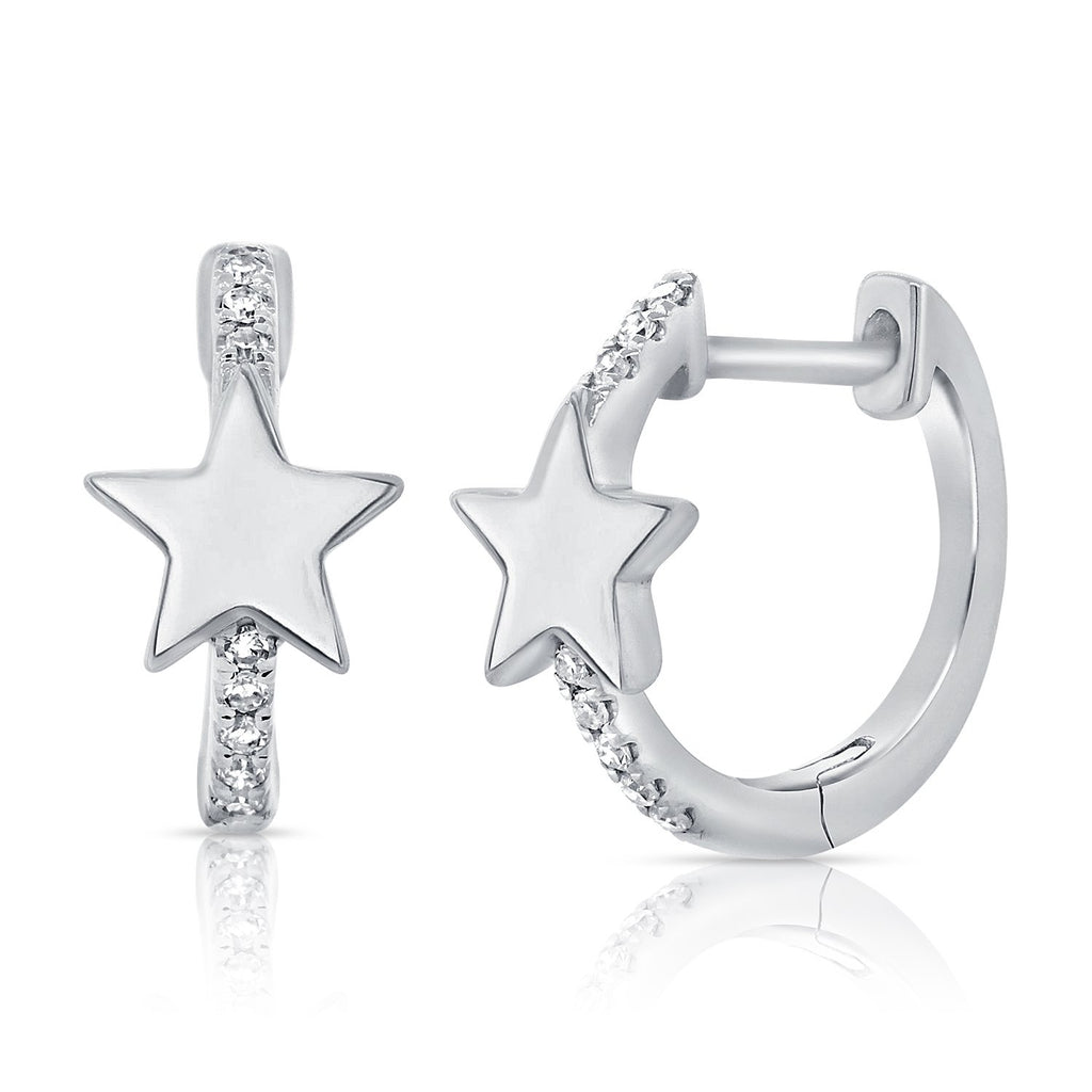 Plain Star Diamond Hoop