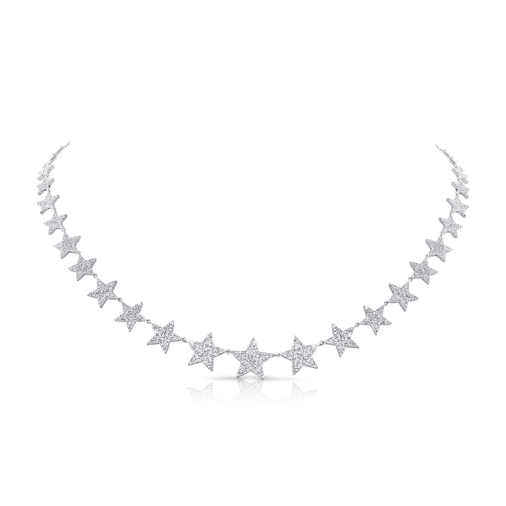 Pavé Diamond Star Wreath Necklace