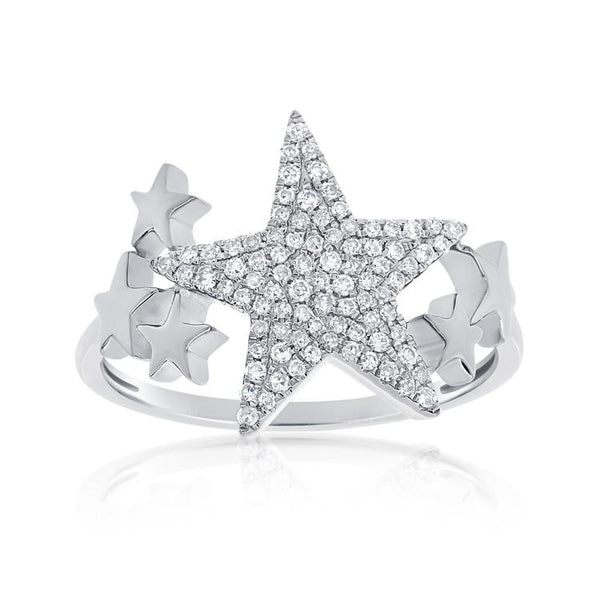 Pave Diamond Star Flanked By Mini Stars