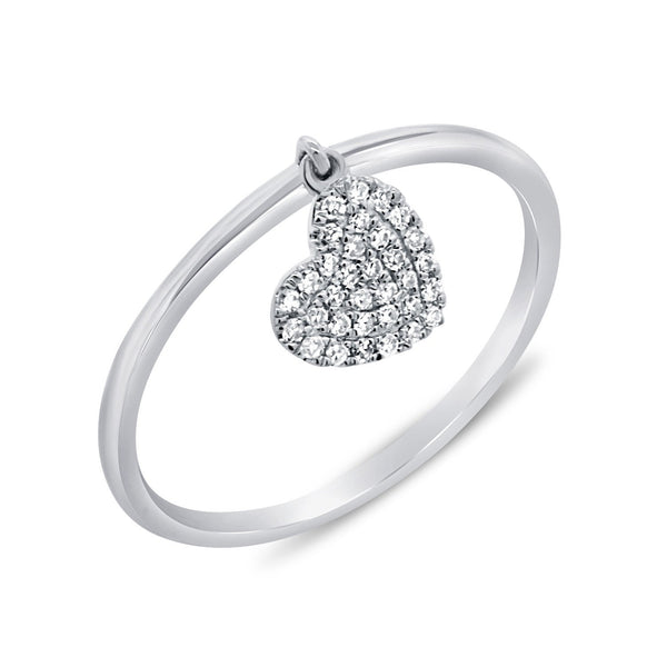 Dangling Pave Diamond Heart Ring