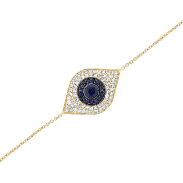 Diamond And Sapphire Evil Eye on Chain Bracelet