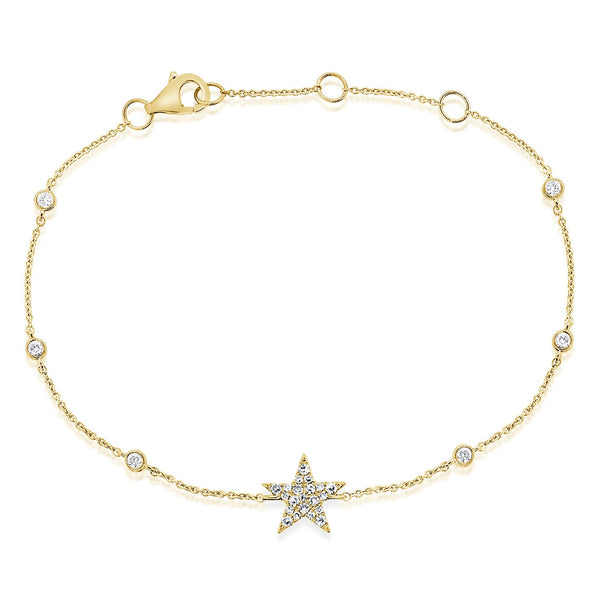 Pave Diamond Star On Diamond By The Yard Bracelet