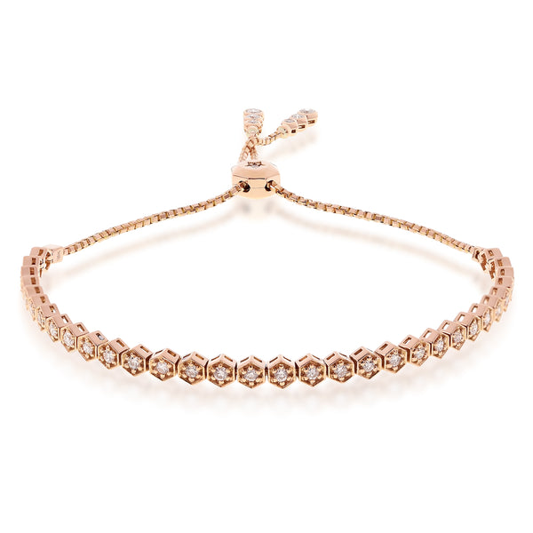 Diamond Bezels On Gold Pull Chain Bracelet