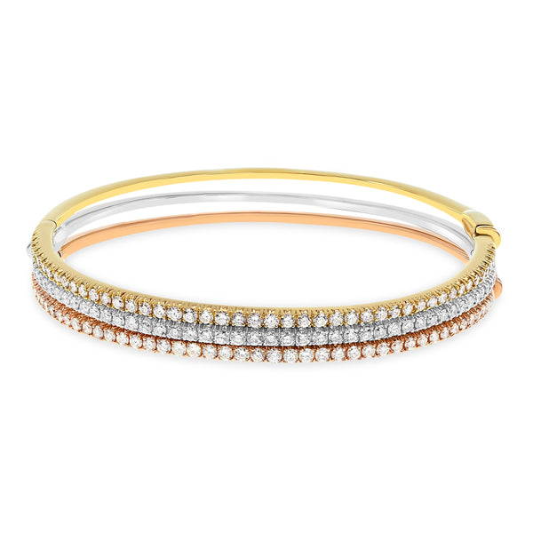 Tri Color Diamond Bangles Set Of 3