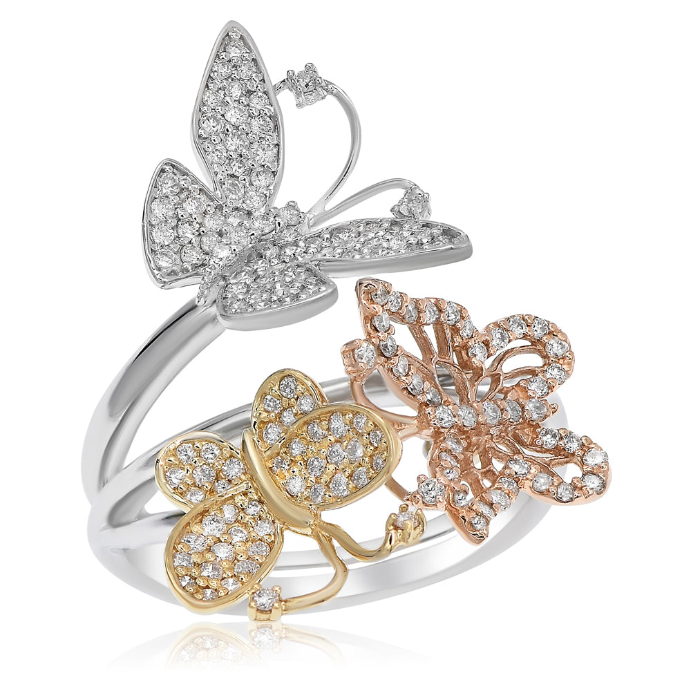 Tri-Color Butterfly Ring With Diamonds