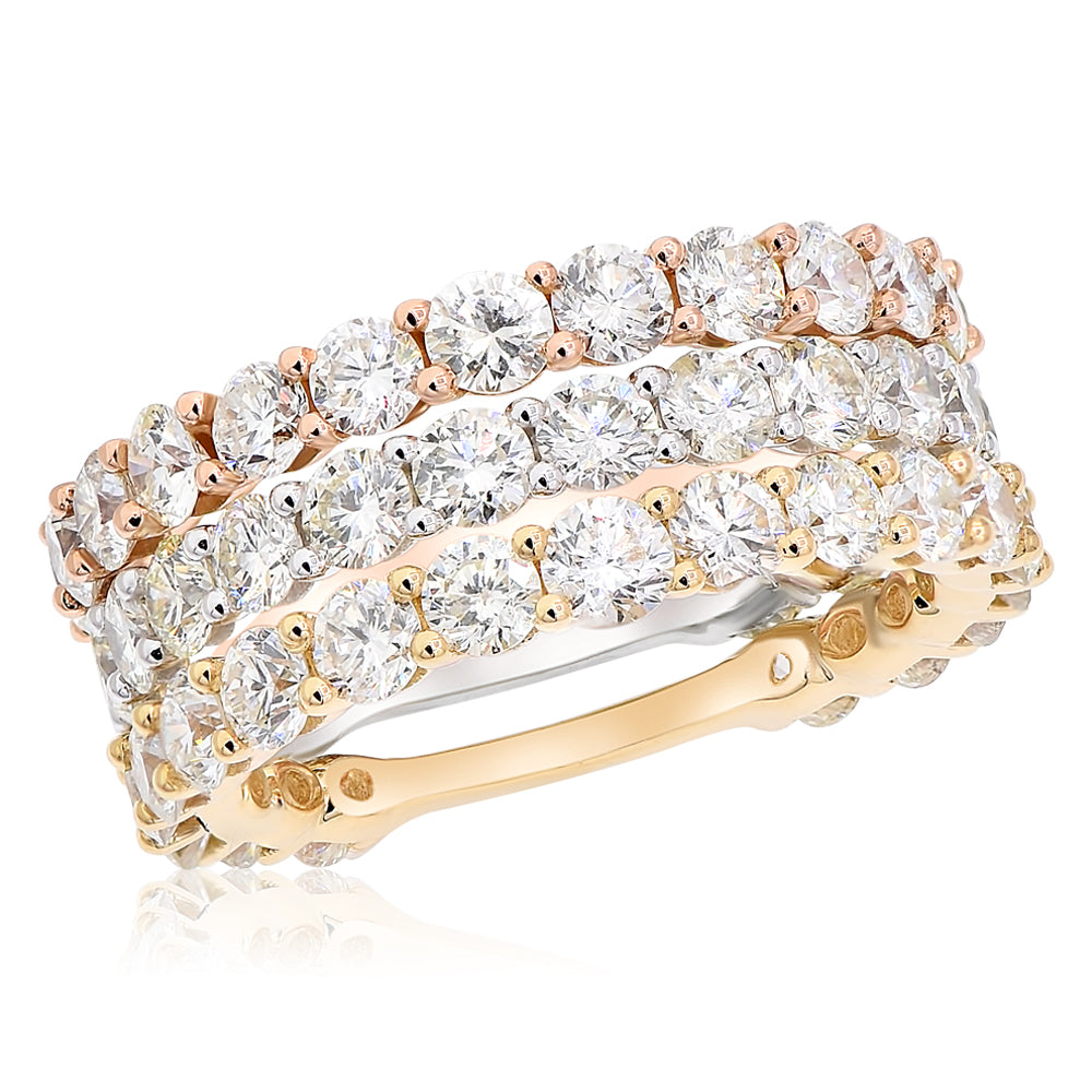 Tri Color Stacking Shared Prong Diamond Bands