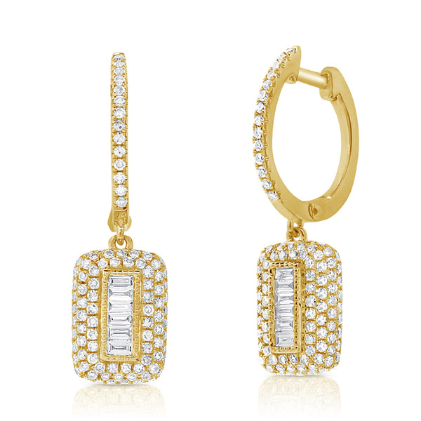 Pavé Diamond Baguettes Drop Hoop Earrings