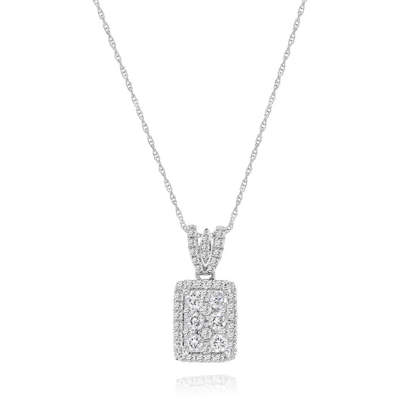 "Pave White Diamond Rectangular Cluster With ""V"" Style Pave Bail"