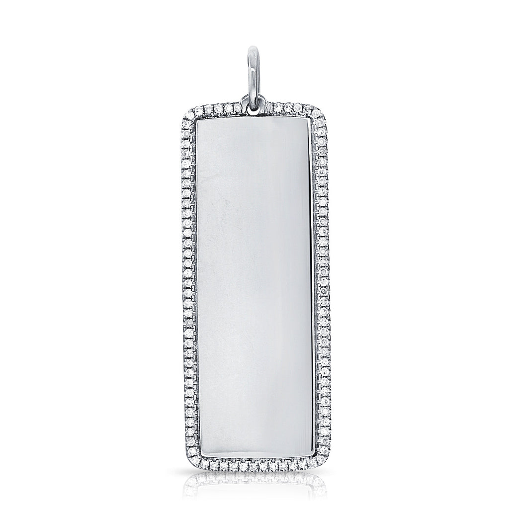 Diamond Outline Dog Tag Pendant