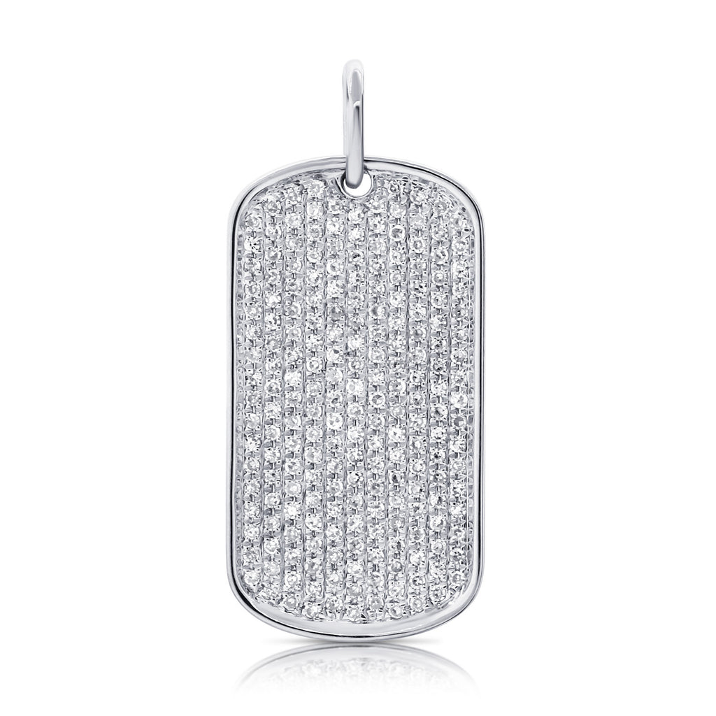 Diamond Encrusted Dog Tag Pendant