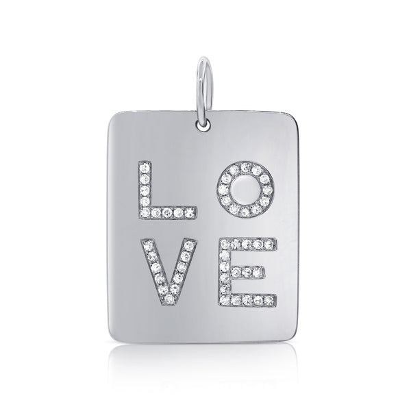 Medium Square LOVE Disc Diamond Pendant