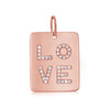 Small Square LOVE Disc Diamond Pendant