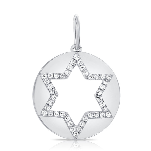 Open Jewish Star Disc With Diamond Outline Pendant