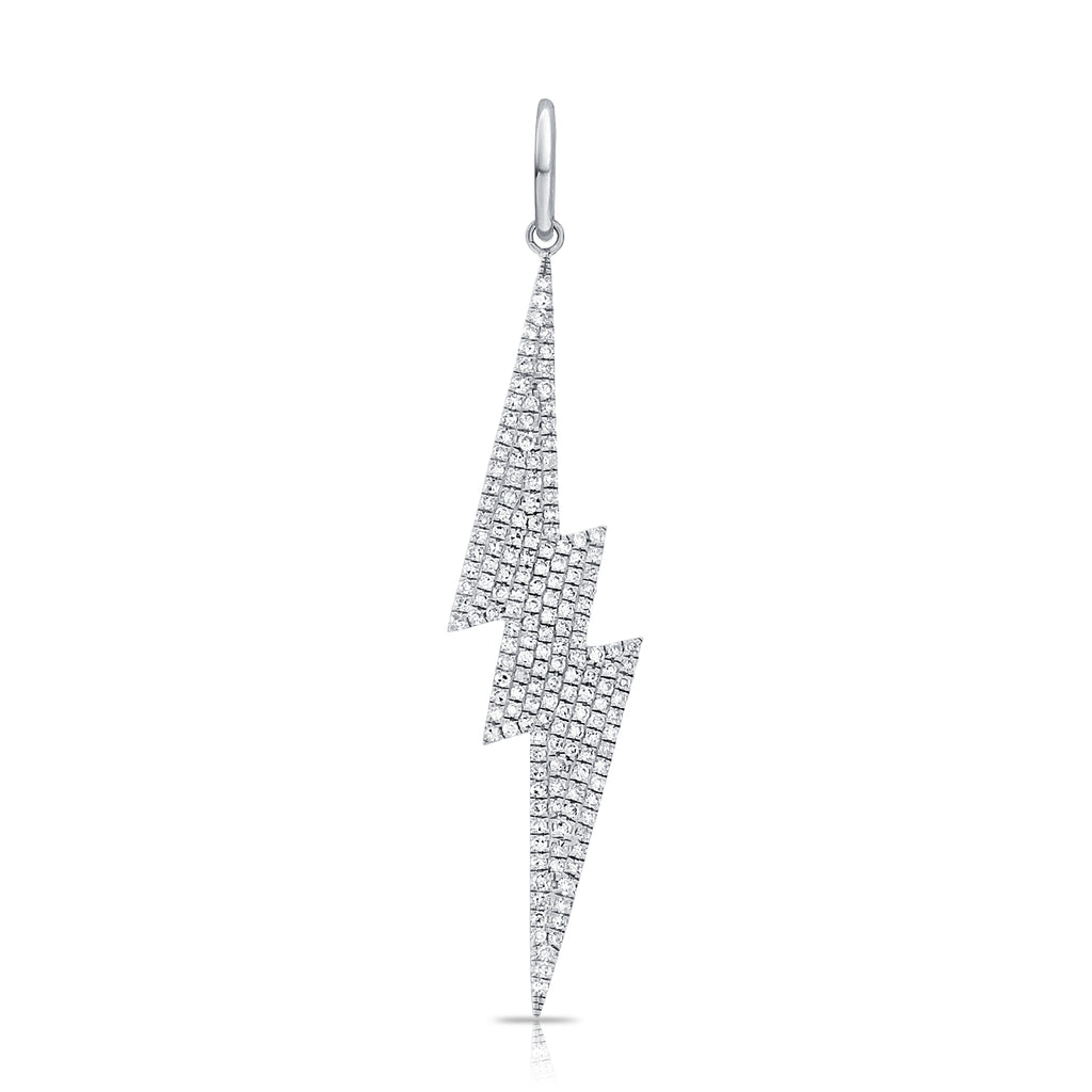 Medium Six Point Pave Diamond Lightning Bolt Pendant