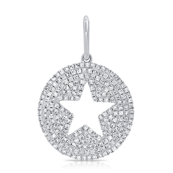 Five Point Open Star On Pave Diamond Disc Pendant