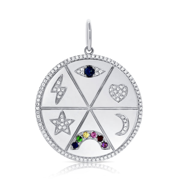 Disc With Evil Eye, Heart, Moon, Rainbow, Star, Lightning Bolt Pendant