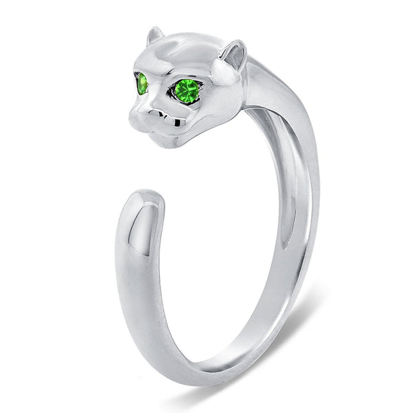 Panther Ring With Tsavorite Eyes