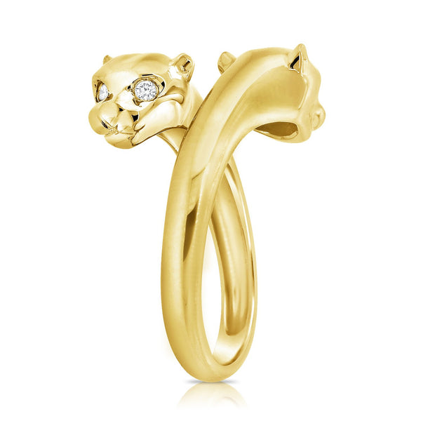 Double Panther Ring With Diamond Eyes