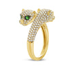 Pave Diamond Double Panther Ring With Tsavorite Eyes