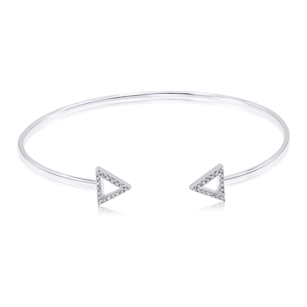 Two Triangles On  White Gold Bracelet