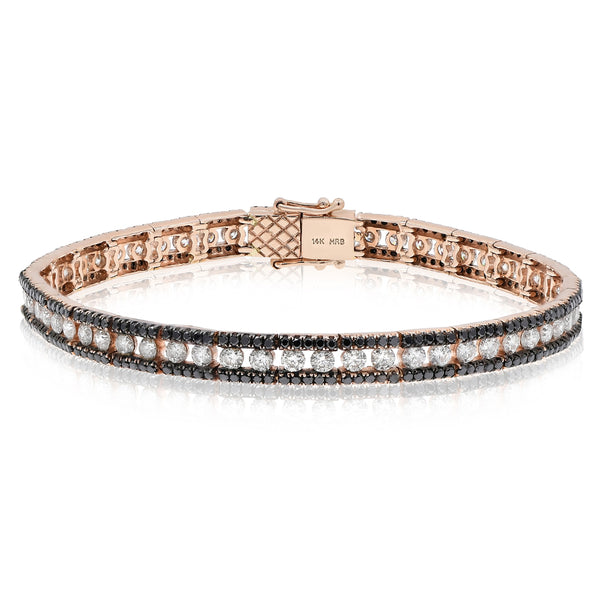 Rose Gold With Black and White Diamonds Bracelet