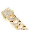 Gold Triple Row Diamond Chain Link Bracelet