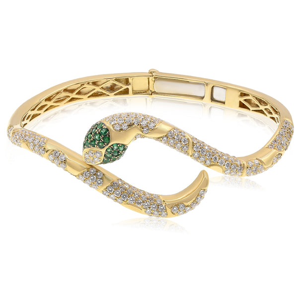 Emerald Snake Bracelet Yellow Gold