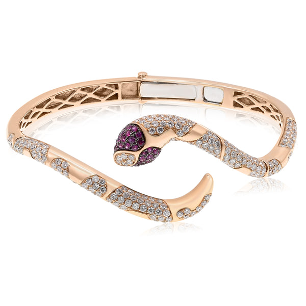 Ruby Snake Bracelet Rose Gold