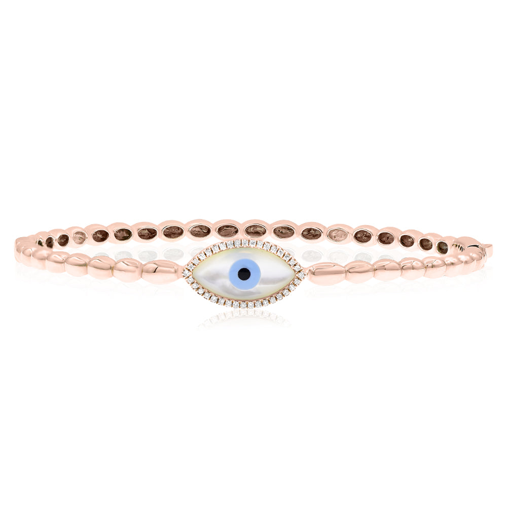 Double Round Evil Eye Cuff - Gold