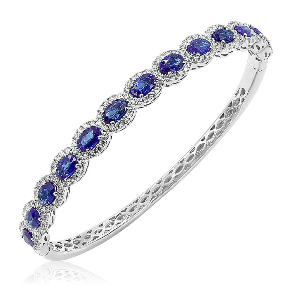 Saph With Diamond Halos Bangle Bracelet
