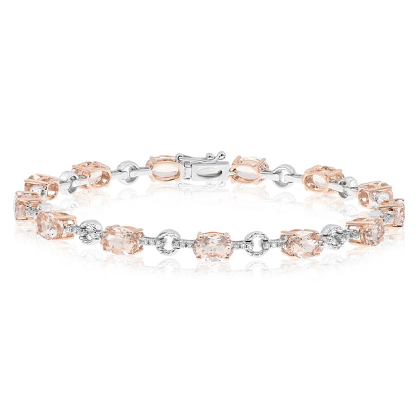 Morganite Oval With White Gold And Diamond Connections Bracelet