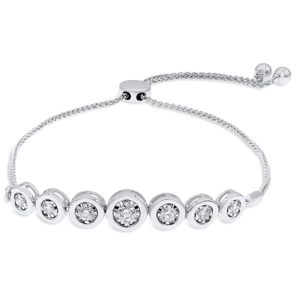 Seven Round Diamonds Bezel Set On Pull Chain