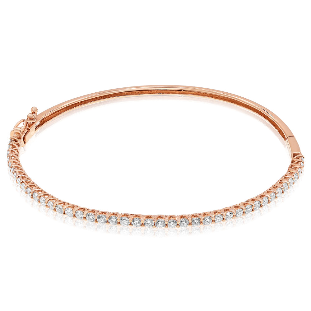 Rose Gold Hinge Bracelet With Diamonds On Top Half Of Bracelet