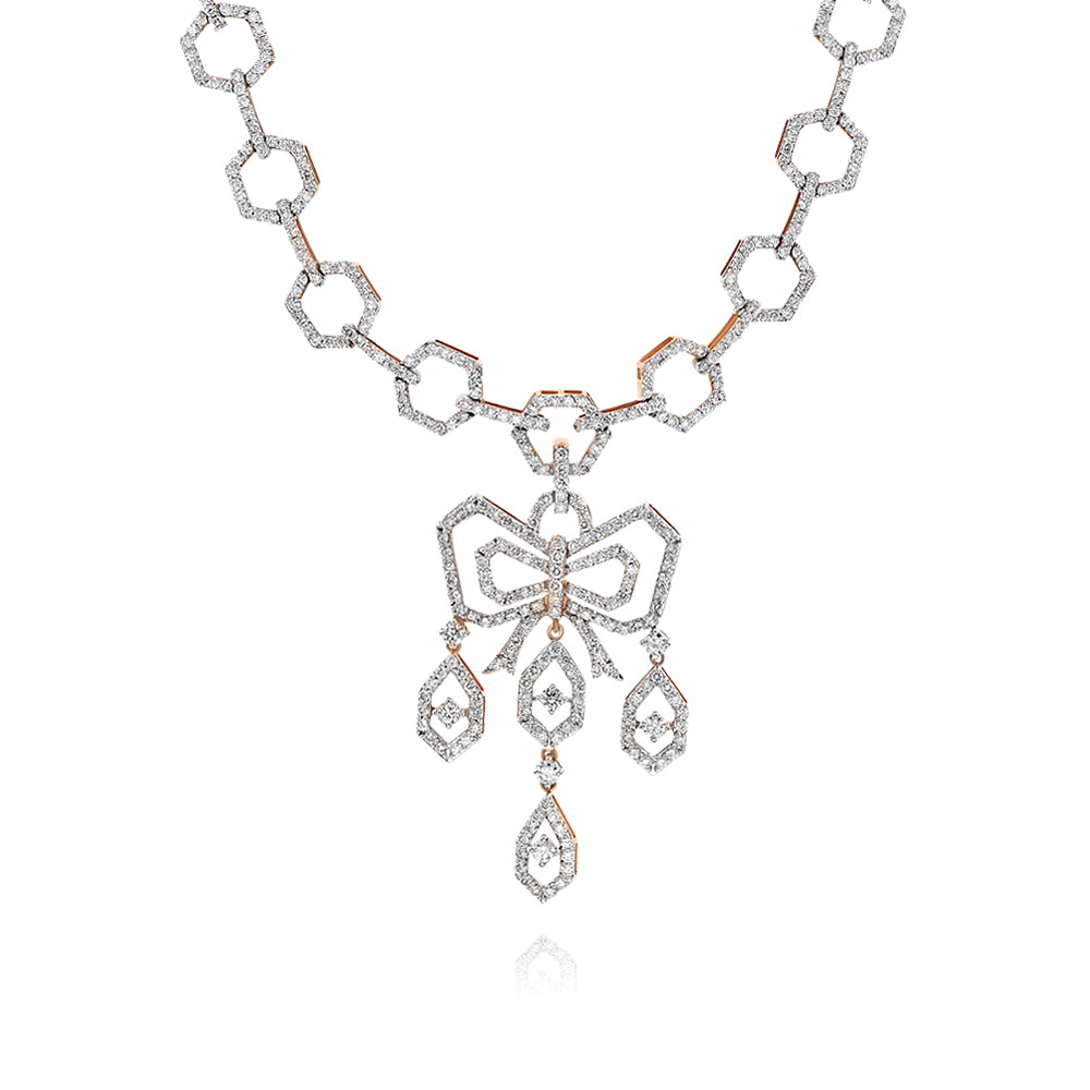 Octagonal Chain Necklace with Diamonds & Diamond Bow Center