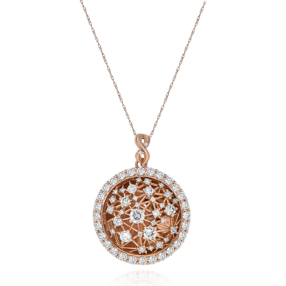 Rose Gold Celestial Diamond Pendant With Diamond Border