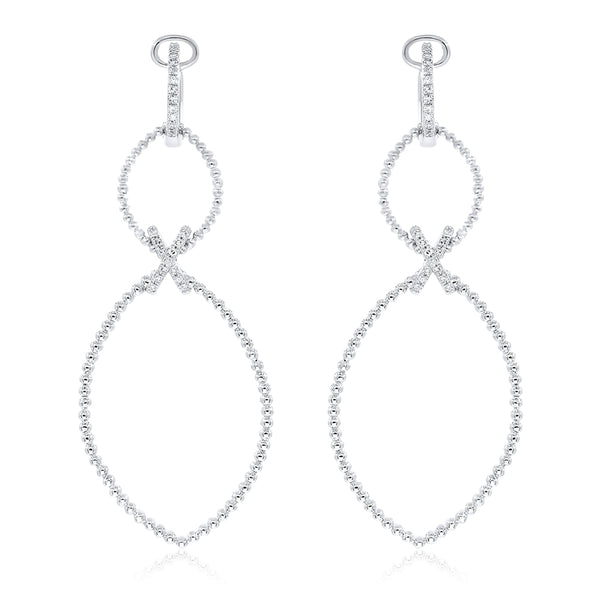 Small and Large Oval Diamond Outline Drop Earring