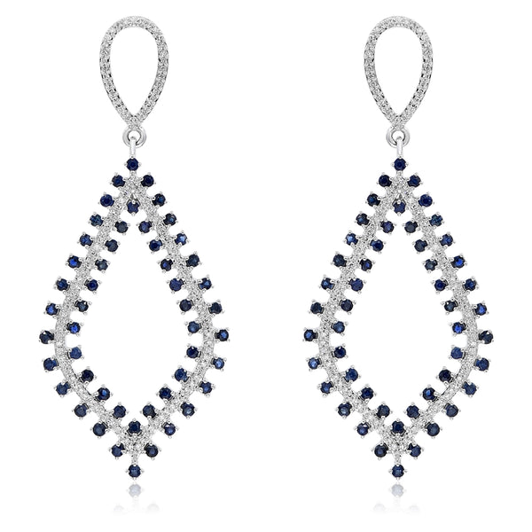 Sapphire and Diamond  Drop Earring