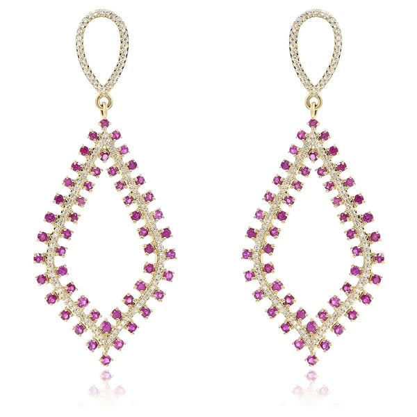 Ruby and Diamond Drop Earrings