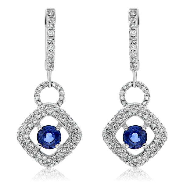 Sapphire and Diamond Long Drop Earring